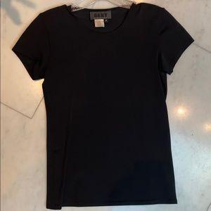 DKNY ESSENTIALS black nylon/spandex t-shirt size P